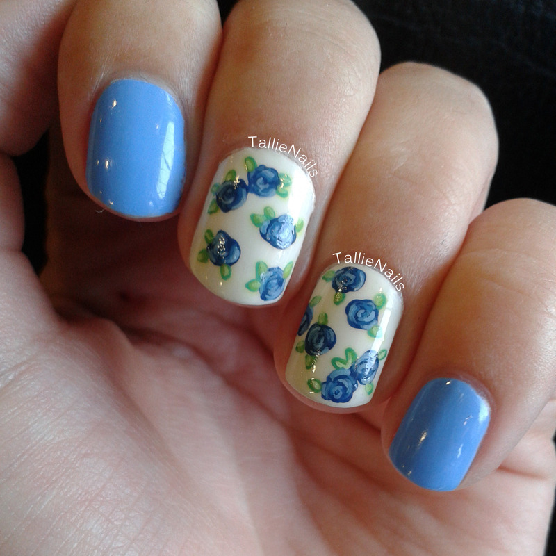 Delicate Blue Roses nail art by Tallie
