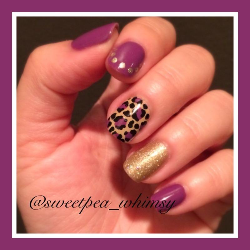 Purple Leopard nail art by SweetPea_Whimsy