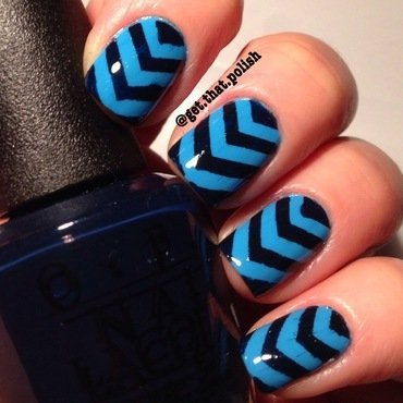 Chevron blues nail art by Luciana
