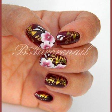 stamping foil et fleur one stroke nail art by BAurorenail