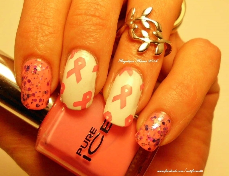 Breast Cancer Awareness Month nail art by Angelique Adams