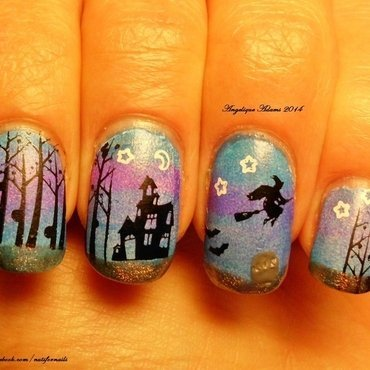 Haunted House nail art by Angelique Adams