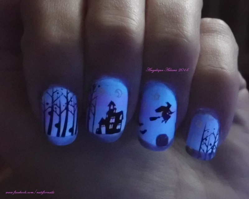 Haunted House pt 2 Glow in the Dark nail art by Angelique Adams