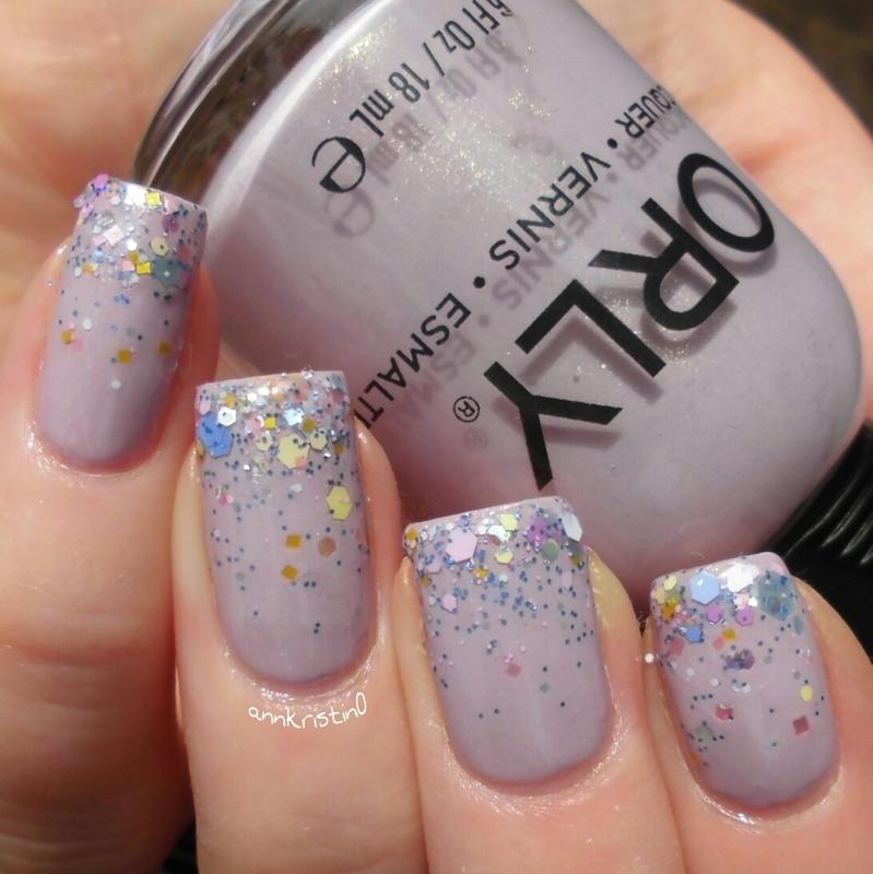 Macaroon Glitter Gradient nail art by Ann-Kristin