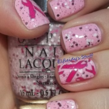 Breast Cancer Awareness stamped mani nail art by Jenette Maitland-Tomblin