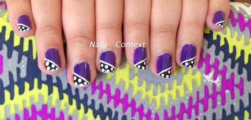 Colorblock dots nail art by NailsContext