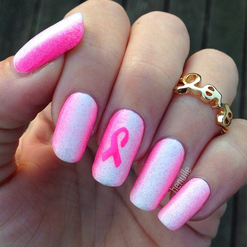 Pink breast cancer awareness nails nail art by Henulle - Nailpolis ...