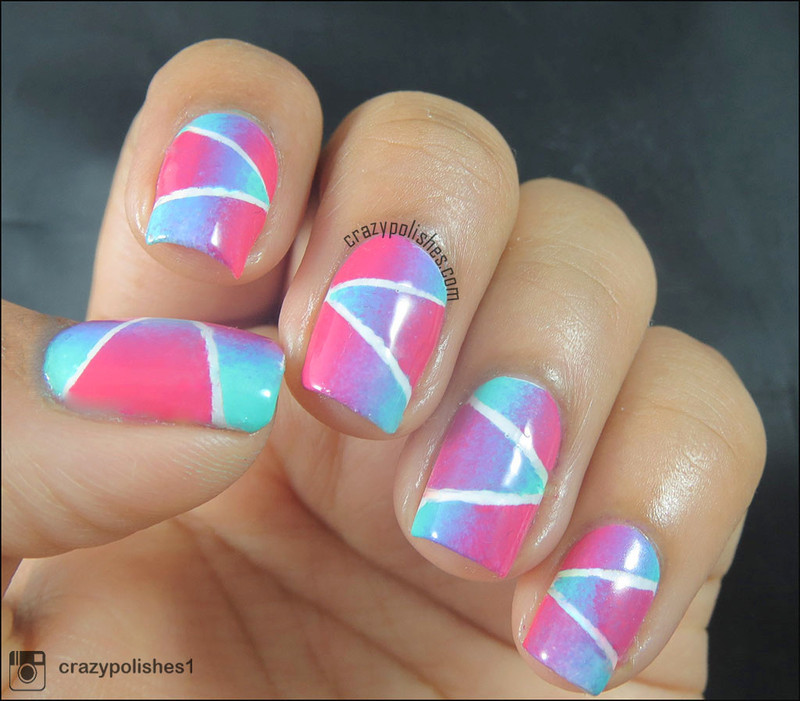Geometric Gradient nail art by CrazyPolishes (Dimpal)