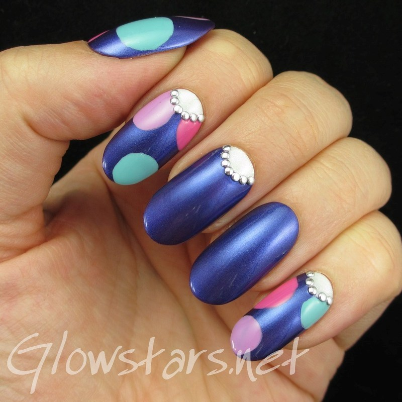 Dots and studded half moons nail art by Vic 'Glowstars' Pires