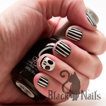 Jack Skellington Black and White Striped Nail Art nail art by Black Cat Nails