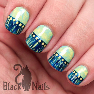 Yellow & Blue Plastic Bag Marble and Crackle Nail Art nail art by Black Cat Nails