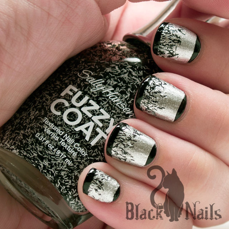 Sally Hansen Fuzzy Coat Tweedy Tip & Moons nail art by ...