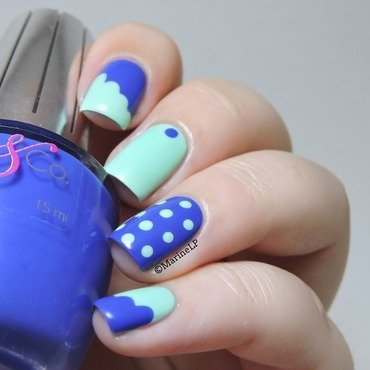 Bubbles and clouds nail art by Marine Loves Polish