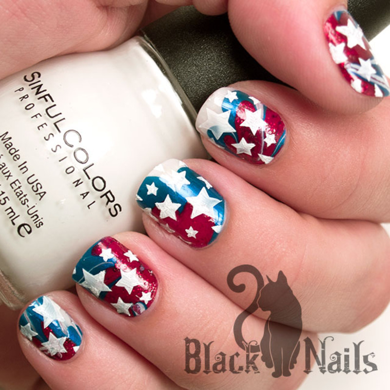 4th of July Water Marble with White Stars Nail Design nail art by ...