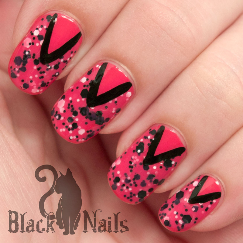 Pink and Black Pretty Polka Dots nail art by Black Cat Nails