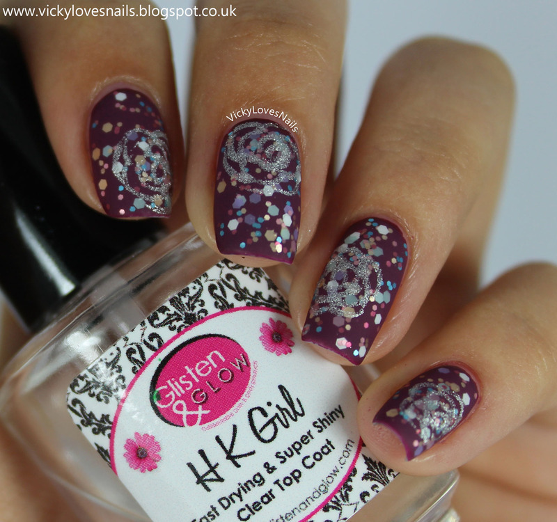 Silver Roses and Glitter nail art by Vicky Standage