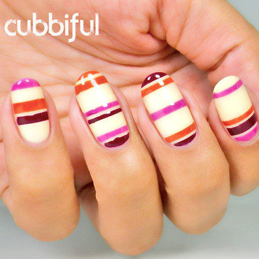 Solo Shot - Autumn Stripes nail art by Cubbiful