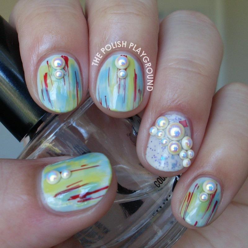 Pearl Rhinestone Treasure nail art by Lisa N