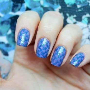 Lavender-Blue nail art by Jane