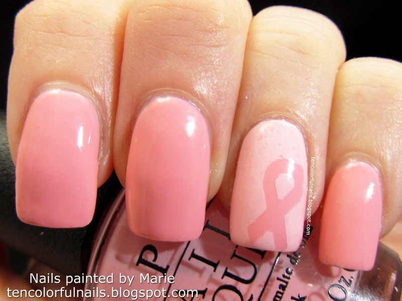 Vellum Effect Nail Art For Breast Cancer Awareness Nail Art By Marie