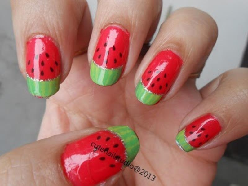 Watermelon vegetarian nails nail art by Puja Malhotra