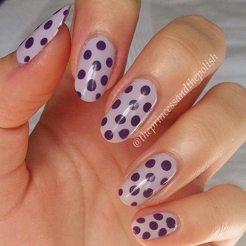 Purple Polkadots nail art by Alexandra