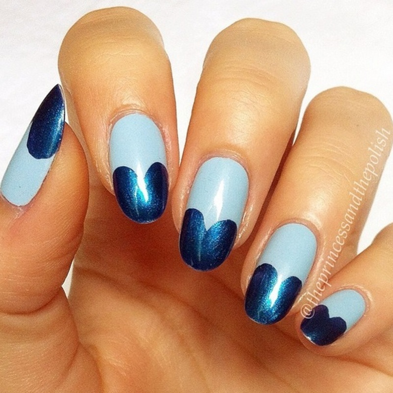 Blue Hearts nail art by Alexandra