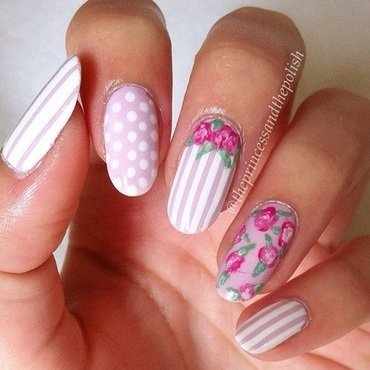 Vintage Florals nail art by Alexandra