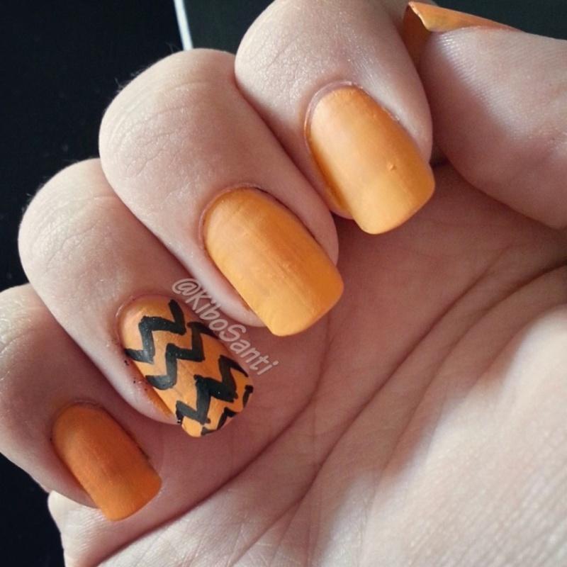 October challenge day 5 Chevron  nail art by KiboSanti