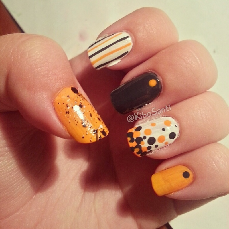 October challenge day 6 Skittle Mani nail art by KiboSanti