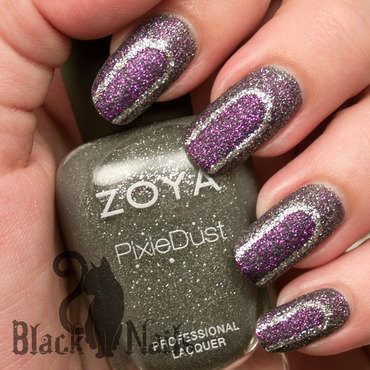 Purple & Grey Abstract Zoya Pixie Dust Nail Art nail art by Black Cat Nails