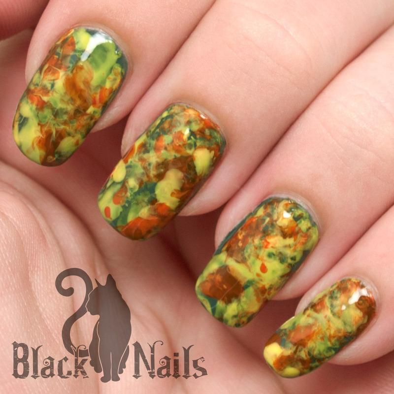 Fall Plastic Bagdry Marble Nail Art Nail Art By Black Cat Nails
