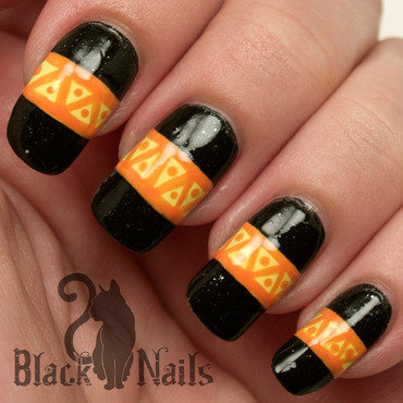 Halloween Tribal Pattern Nail Art nail art by Black Cat Nails