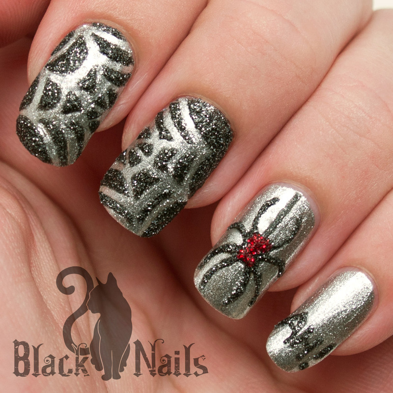 3-D Sparkly Spider Halloween Nail Art nail art by Black Cat Nails
