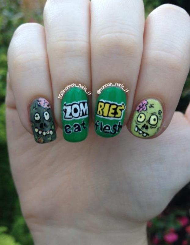 Zombie humour nail art by Hannah