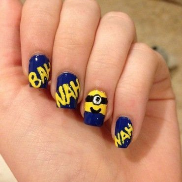 "Despicable Me Minion ""Banana"" nail art nail art by Elizabeth Hemingway"