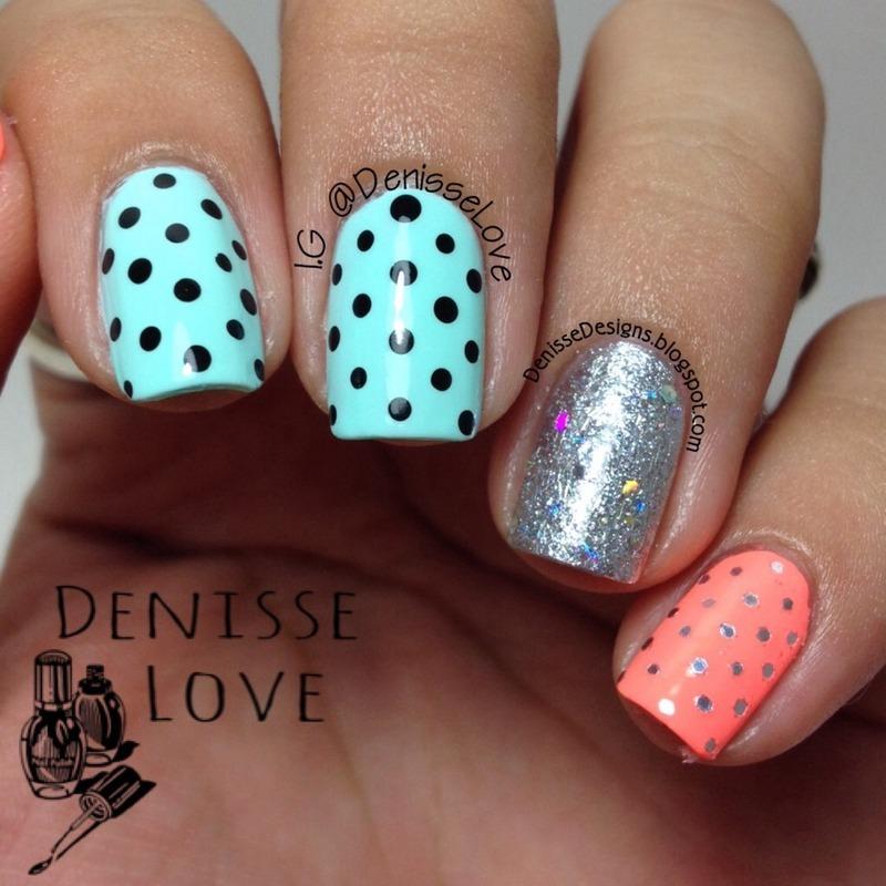 Dots & Glitter nail art by Denisse Love