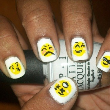 Emoji's (first attempt) nail art by Toni Nailed It