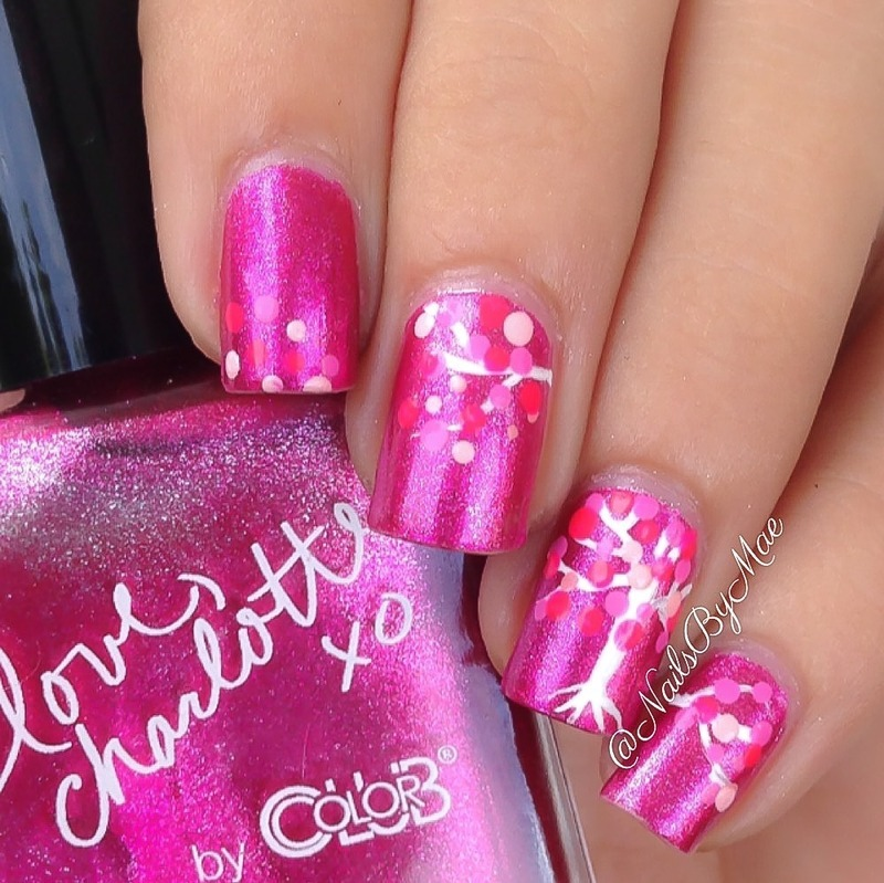 Pink Fall Tree nail art by Sheily (NailsByMae)