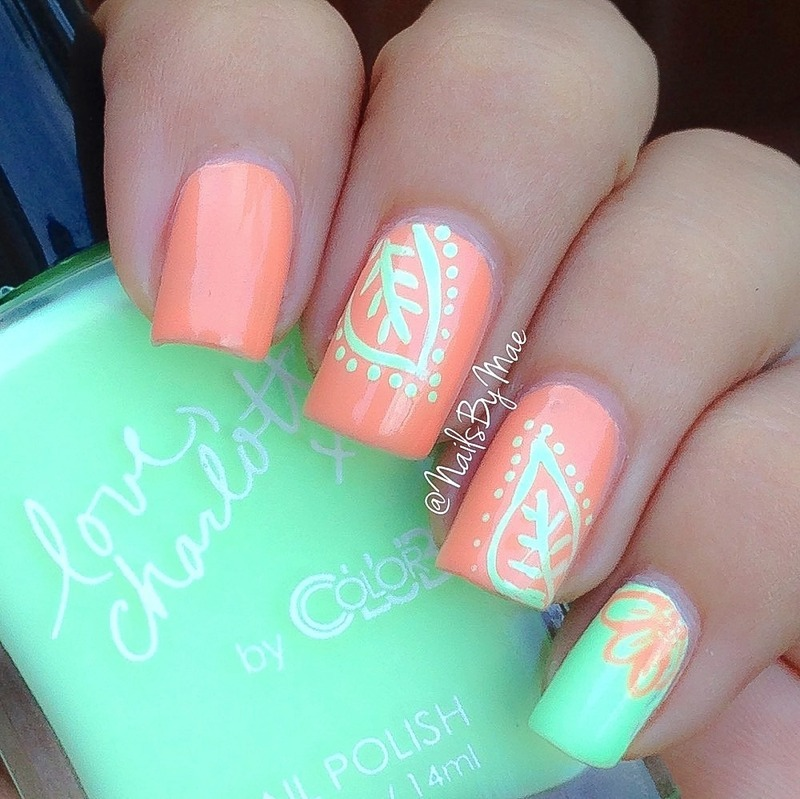 Peach and Green Neon Leaves nail art by Sheily (NailsByMae)