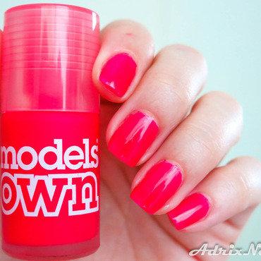 Neon Red nail art by Adriana Bojorquez