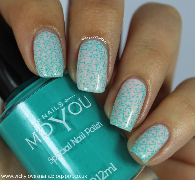 Soft Geometric Stamping nail art by Vicky Standage