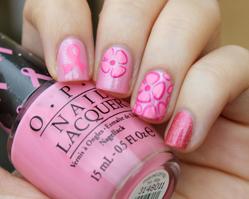 Pink awareness nail art by Moriesnailart