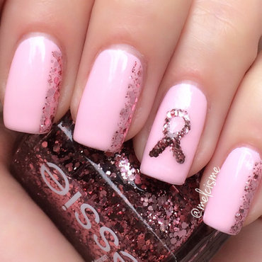 Breast Cancer Awareness nail art by Melissa
