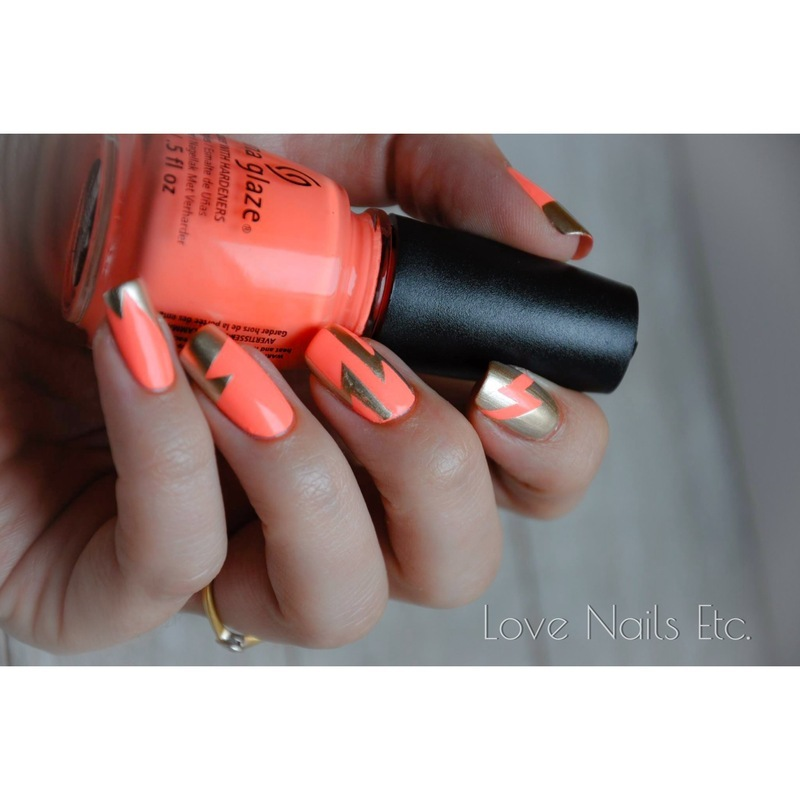lightning neon nail art by Love Nails Etc