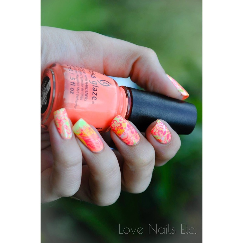 Water Marble Tropical nail art by Love Nails Etc