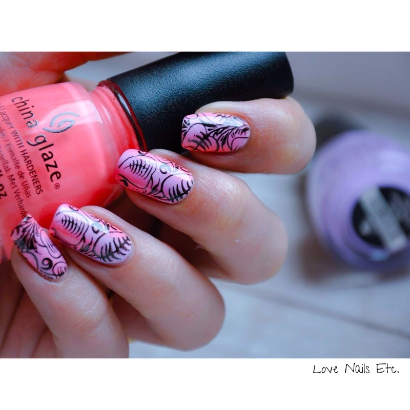 Floral Gradient nail art by Love Nails Etc