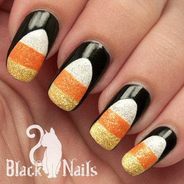Sparkly Candy Corn Halloween Nail Art nail art by Black Cat Nails
