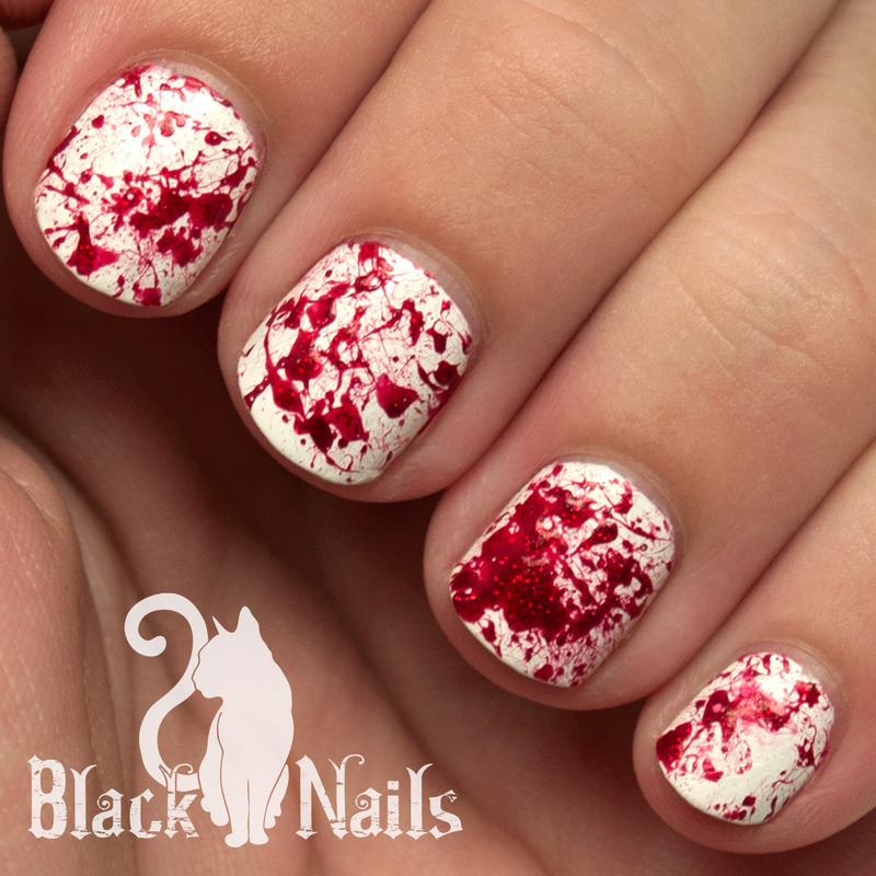 Sparkly blood splatter halloween nail art nail art by black cat sparkly blood splatter halloween nail art nail art by black cat nails prinsesfo Images