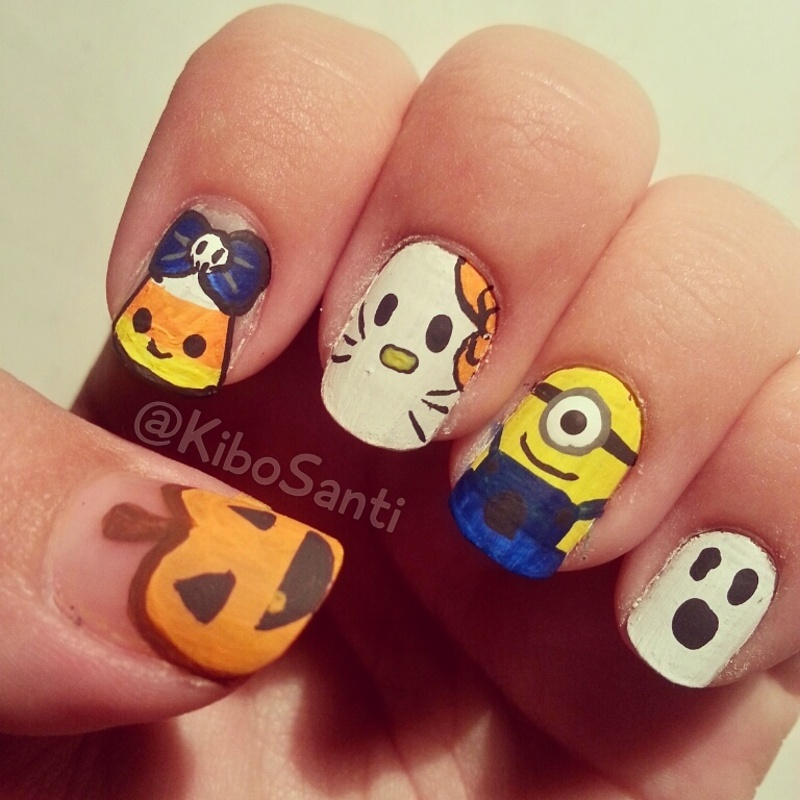 October challenge day 7 Kid-friendly nail art by KiboSanti